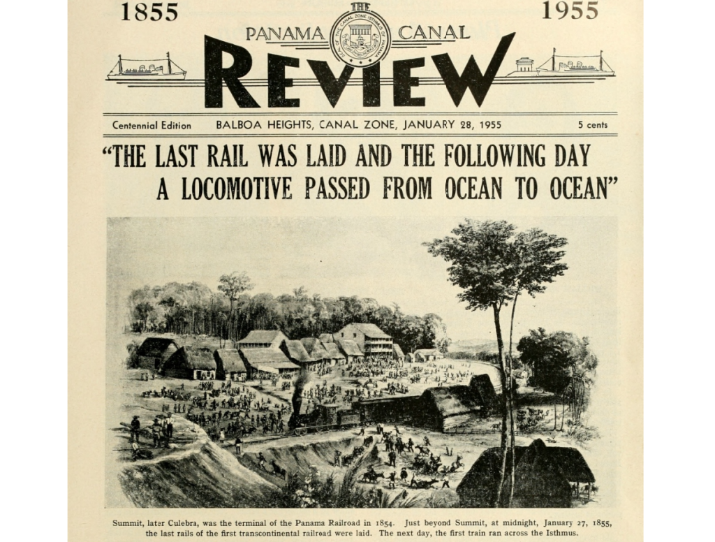 Cover of Panama Canal Review issue dated January 28, 1955 celebrating centennial of Panama Railroad opening in 1855.
