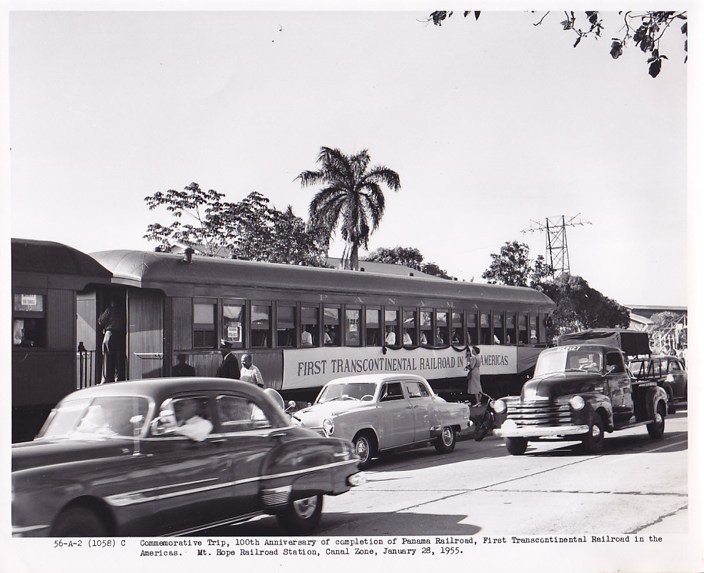 Commemorative Trip, 100th Anniversary of completion of Panama Railroad, First Transcontinental Railroad in the Americas. Mt. Hope Railroad Station, Canal Zone, January 28, 1955.